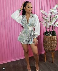 Sexy Patchwork Backless Long Sleeve Romper XSF-6068