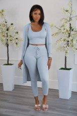 Solid Ribbed Tank Top+Long Cloak+Pants 3 Piece Sets YYF-6613