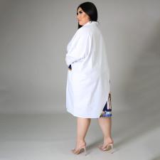 Plus Size Casual Loose Pachwork Shirt Dress HNIF-DHN004