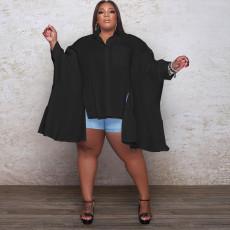 Plus Size Solid Long Sleeve Irregular Loose Blouse WAF-77246