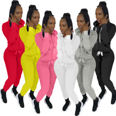 Casual Sports Solid Zipper Hoodie Two Piece Suits YIM-216