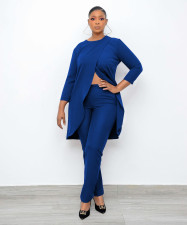 Solid Long Sleeve Irregular Top And Pants 2 Piece Sets OMMF-3536