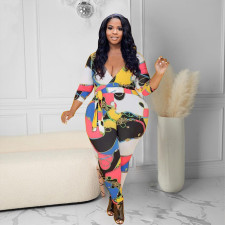 Plus Size Casual Printed V Neck Sashes Jumpsuit WPF-80318