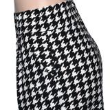 Plus Size Houdstooth Dot Print High Waist Wide Leg Pants SH-390198