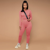 Solid Sweater Long Sleeve Two Piece Pants Set TE-4323