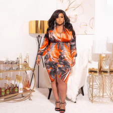 Plus Size Sexy Printed V Neck Ruched Bodycon Dress PHF-1237