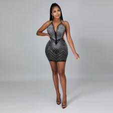 Sexy Hot Drilling Halter Backless Club Dress CYA-9184