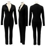 Solid Long Sleeve Zipper Slim Jumpsuit SFY-2134