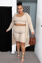 Plus Size Solid Full Sleeve Long Cloak+Tank Top+Shorts 3 Piece Sets SMXF-9629