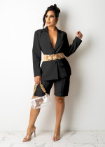Solid Blazer Coat And Shorts OL Two Piece Suits (Without Belt) TR-1173