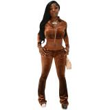 Solid Velvet Zipper Long Sleeve Top Flare Pants 2 Piece Suits NIK-263