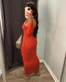 Sexy Solid Off Shoulder Long Sleeve Pocket Maxi Dress SHA-86264