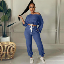 Sexy Solid Drawstring Long Sleeve 2 Piece Pants Set HM-6528
