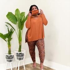 Plus Size V Neck Long Sleeve Split Top+Leopard Pants 2 Piece Sets (Without Mask) MUKF-060