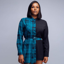 Plaid Print Patchwork Long Sleeve Belted Blouse SZF-8170