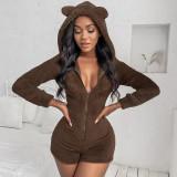 Cute Plush Hooded Long Sleeve Zipper Romper YUEM-66183