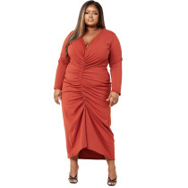 Plus Size Solid Long Sleeve V Neck Ruched Maxi Dress YMEF-5037