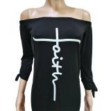 Letter Print Tie-Knotted Sleeve Split Maxi Dress BGN-199