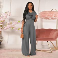 Pink Letter Print Short Sleeve Wide Leg Pants 2 Piece Suits TE-2014