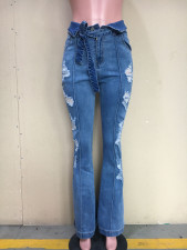 Denim Ripped Mid-Waist Sashes Flared Jeans ORY-5175-1
