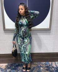 Sexy Mesh Print Long Sleeve Maxi Dress WSM-5277