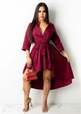Solid Long Sleeve Irregular Sashes Shirt Dress MEM-88390