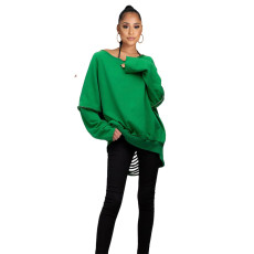 Green Full Sleeve Hollow Out Casual Top XSF-6070