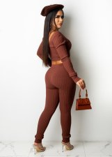 Solid Ribbed Long Sleeve Two Piece Pants Set LFDF-70023