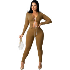 Solid Long Sleeve Lace-Up Two Piece Pants Set ZNF-9108