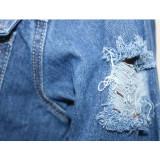 Denim Ripped Hole Tassel Full Sleeve Casual Long Coat SH-390000