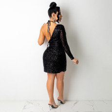 Sexy Sequin One Shoulder Club Dress With Bra SH-390199
