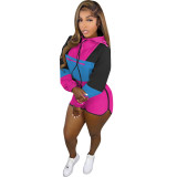 Casual Patchwork Hooded Two Piece Shorts Set OMMF-5628