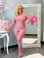 Solid Long Sleeve Turtleneck Stacked Pants 2 Piece Sets XYF-9116