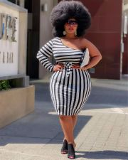 Plus Size Striped One Shoulder Sashes Bodycon Dress QSF-51042