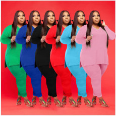 Plus Size Solid V Neck Long Sleeve Two Piece Pants Set WAF-77262