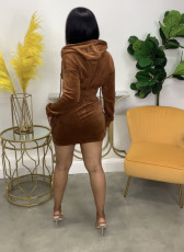 Solid Zipper Hoodie And Mini Skirt Two Piece Sets WSM-5278