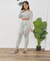 Solid Oblique Shoulder Long Sleeve 2 Piece Sets WSM-2034
