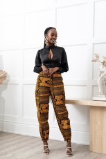 Colorful Printed Mid-Waist Pocket Casual Pants BS-1286