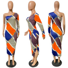Sexy Printed One Shoulder Long Dress JH-274
