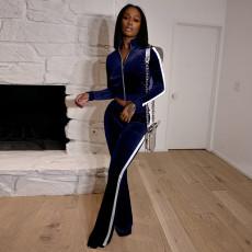 Casual Velvet Long Sleeve Zipper Two Piece Pants Set ARM-8305
