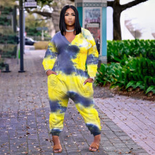 Plus Size Tie Dye Print Long Sleeve Jumpsuit WTF-9169