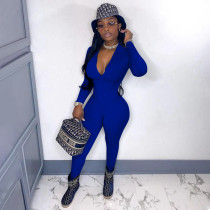 Sexy Solid Long Sleeve Zipper Tight Jumpsuit YF-9981