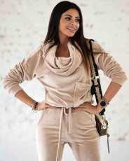 Solid Velvet Long Sleeve Pocket Jumpsuit MQXF-23591