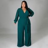 Plus Size Solid V Neck Long Sleeve Sashes Jumpsuit NNWF-7325