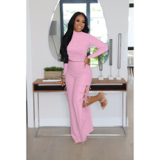 Solid Long Sleeve Hollow Pants 2 Piece Suits FOSF-8100