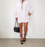 Casual Solid Long Sleeve Split Shirt Dress BGN-201