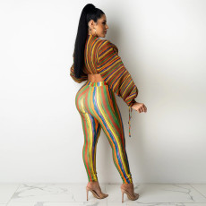 Sexy Printed Long Sleeve Crop Top And Pants 2 Piece Sets SZF-8175