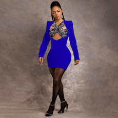 Sexy Long Sleeve Hollow Out Mini Dress SZF-8172