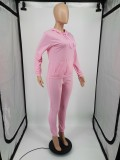 Plus Size Solid Hoodie Sweatpants Two Piece Suits YIM-213