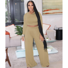 Plus Size Casual Solid Long Sleeve Two Piece Pants Set FOSF-8092